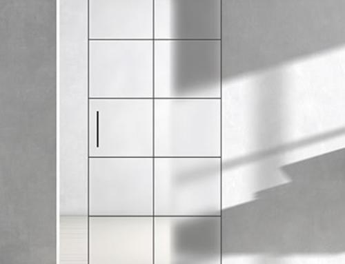 Schwarze Rahmen auf Glastür im Industriedesign